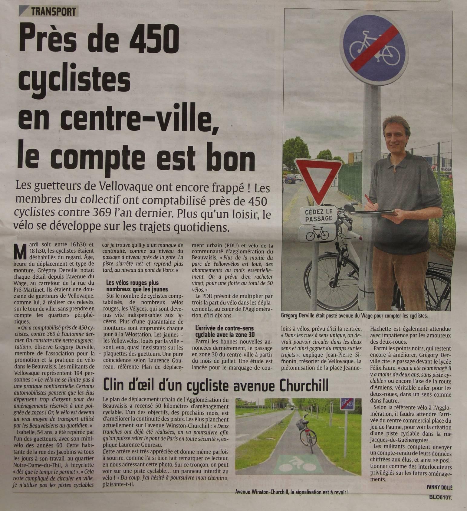 Opération «Comptage de cyclistes» de Vellovaque