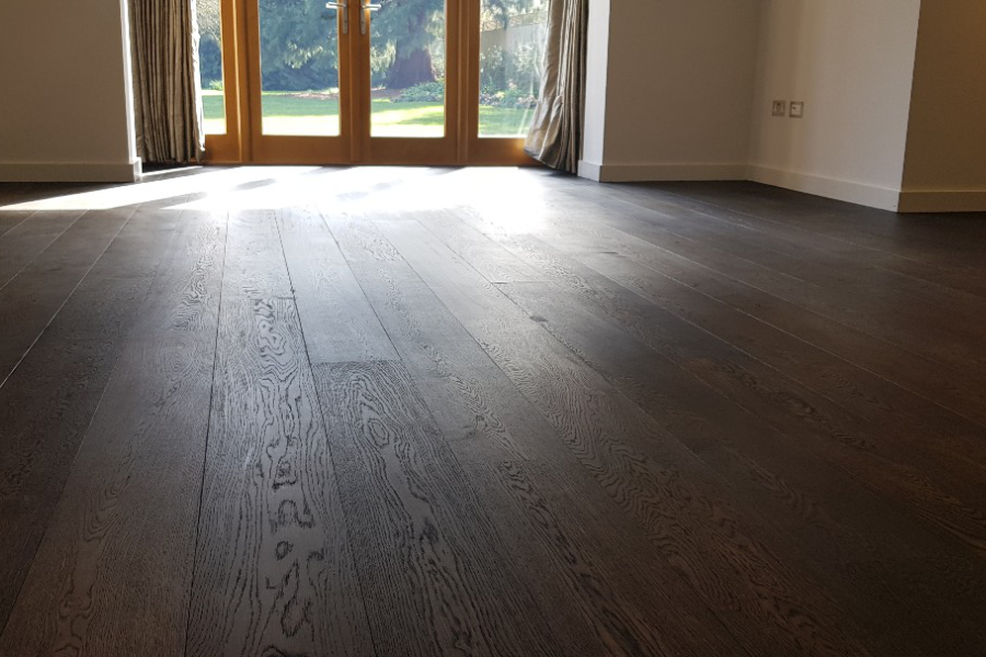 dark stained wood floor