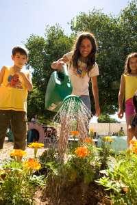 3 youth/children watering a garden
