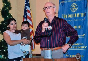 Rotarians giving scholarship awards