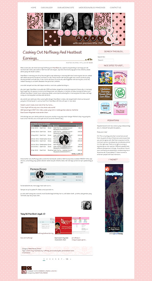 wordpress template pink and brown - blog beba anas