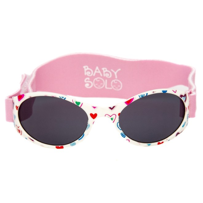 Baby Solo Sunglasses Cutie Pink Heart Frame w/ Solid Black Lens