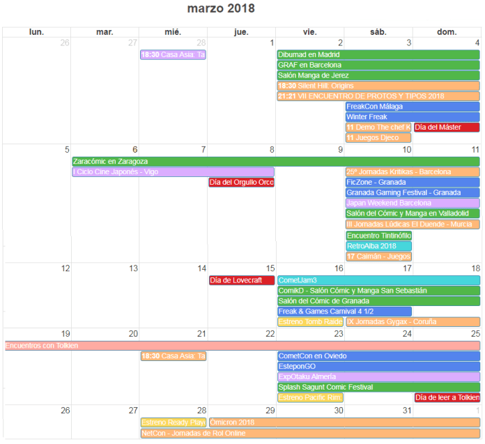 Calendario agenda de eventos frikis marzo 2018