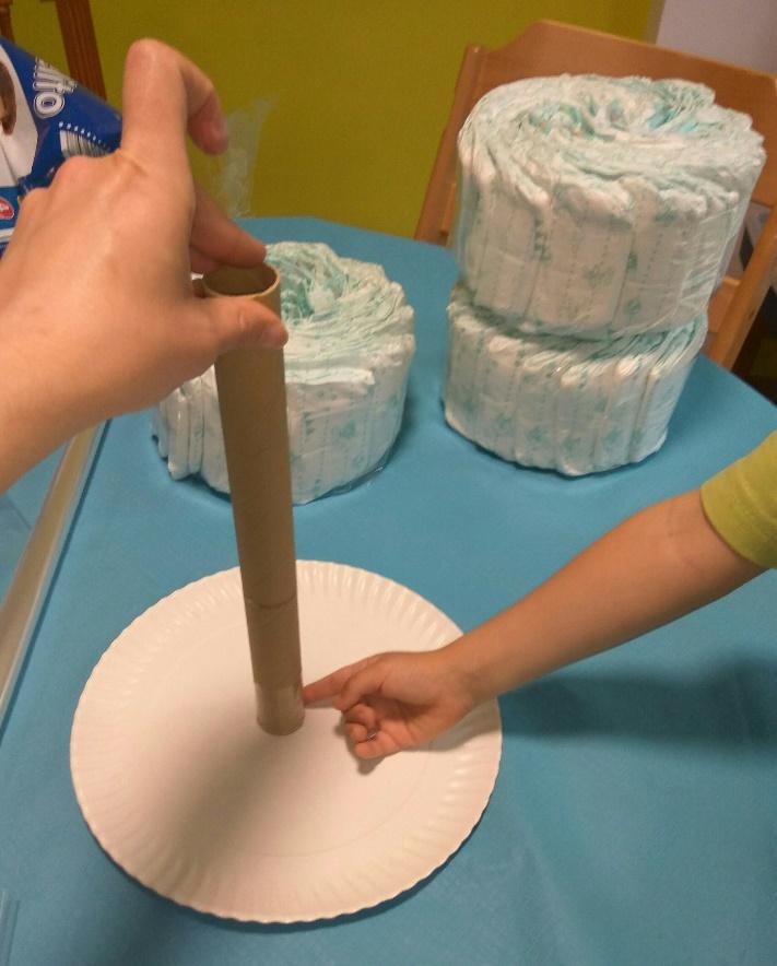 tarta de pañales en vertical