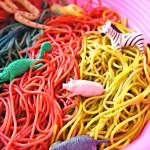 Sensory Rainbow Spaghetti Safari Play