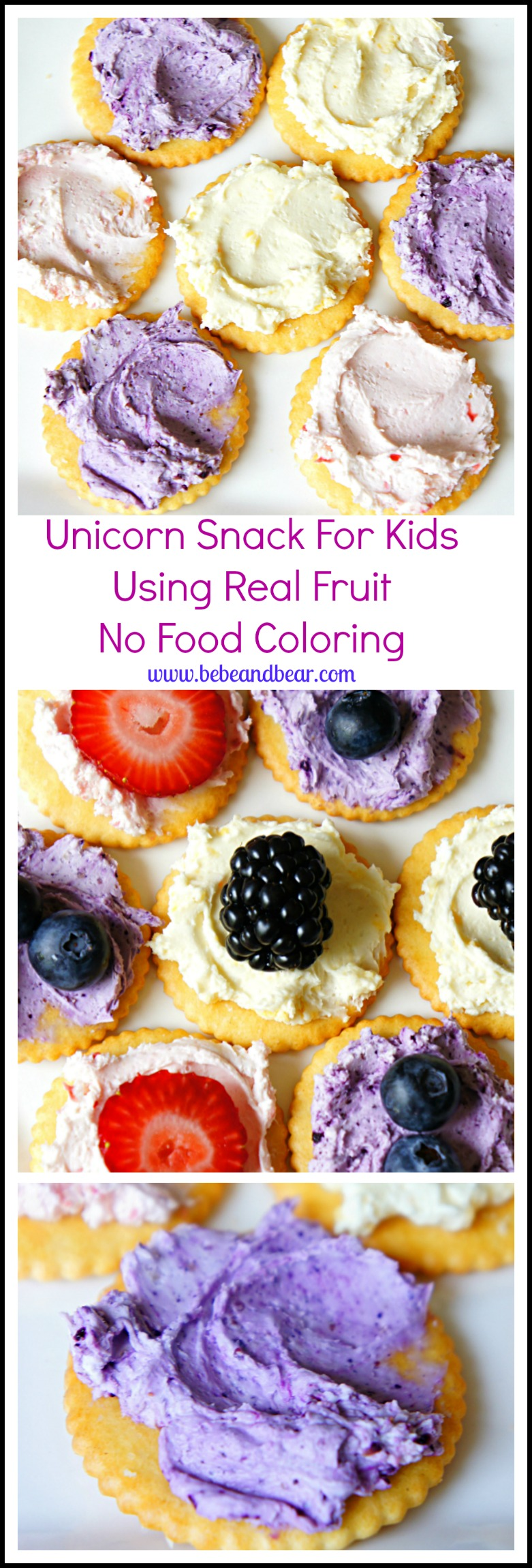 Unicorn Snack. Adding color to cream cheese using real fruit. No food coloing!
