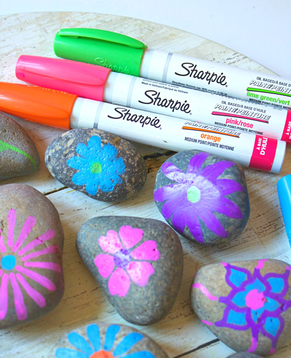 Painting flowers on Rocks with Markers. Cute craft for kids.