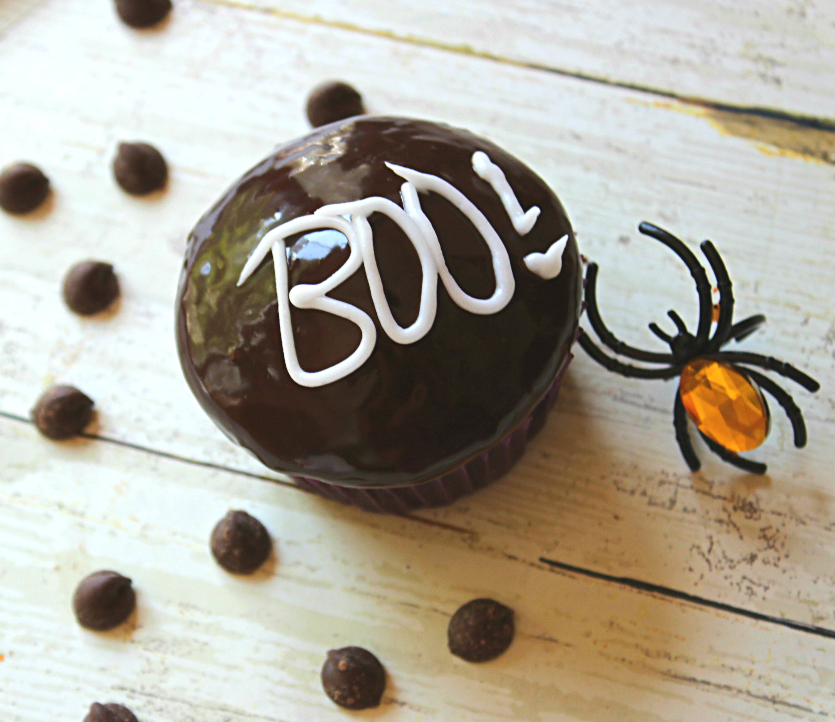 BOO chocolate ganache glazed halloween pumpkins