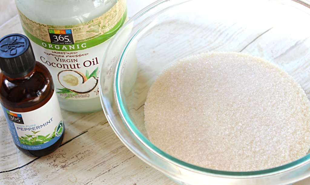 homemade peppermint coconut oil sugar body scrub