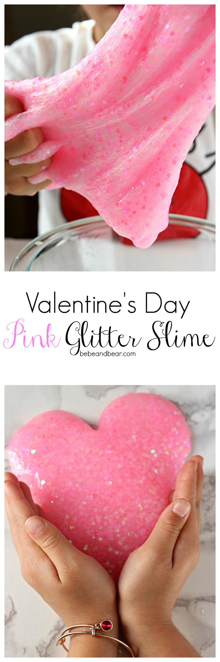 Pink Heart Shaped Clear Glitter Valentine Slime