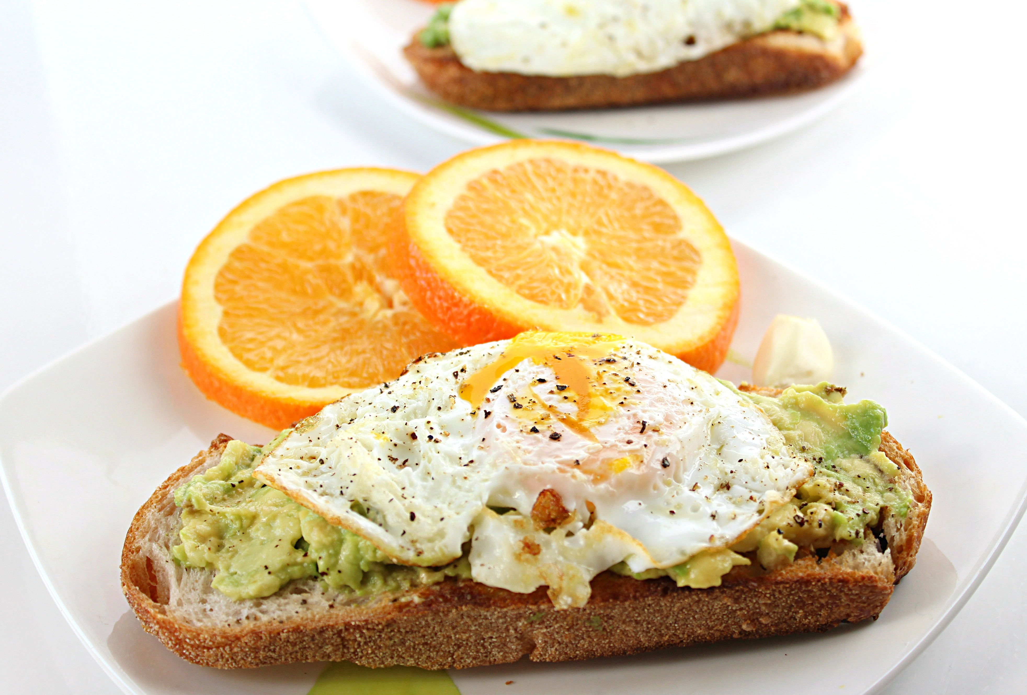 Avocado Toast with Garlic and Over Easy Egg