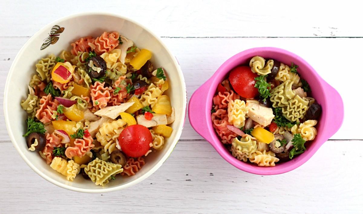 Tri-colored quinoa pasta salad with roasted chicken.
