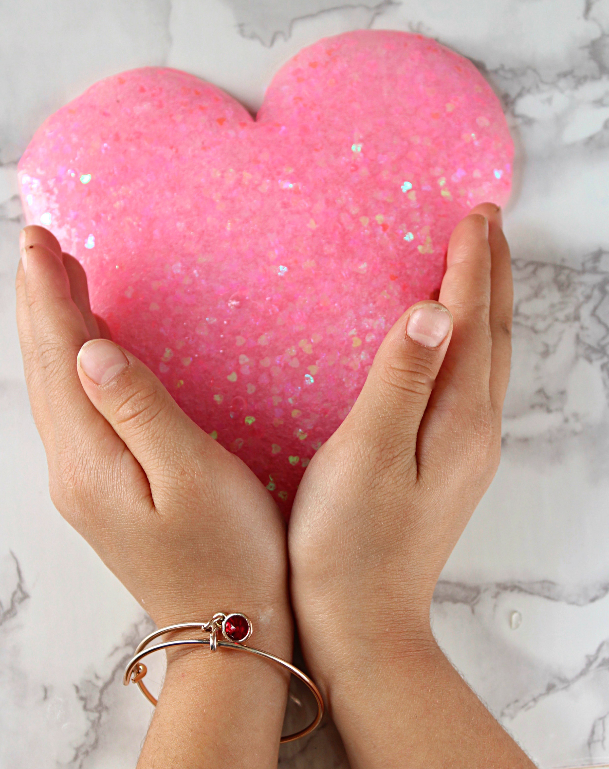 Pink Heart Shaped Clear Glitter Valentine Slime