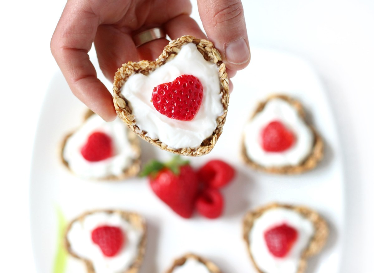 Strawberry Heart Shaped Greek Yogurt Parfait Oatmeal Cups