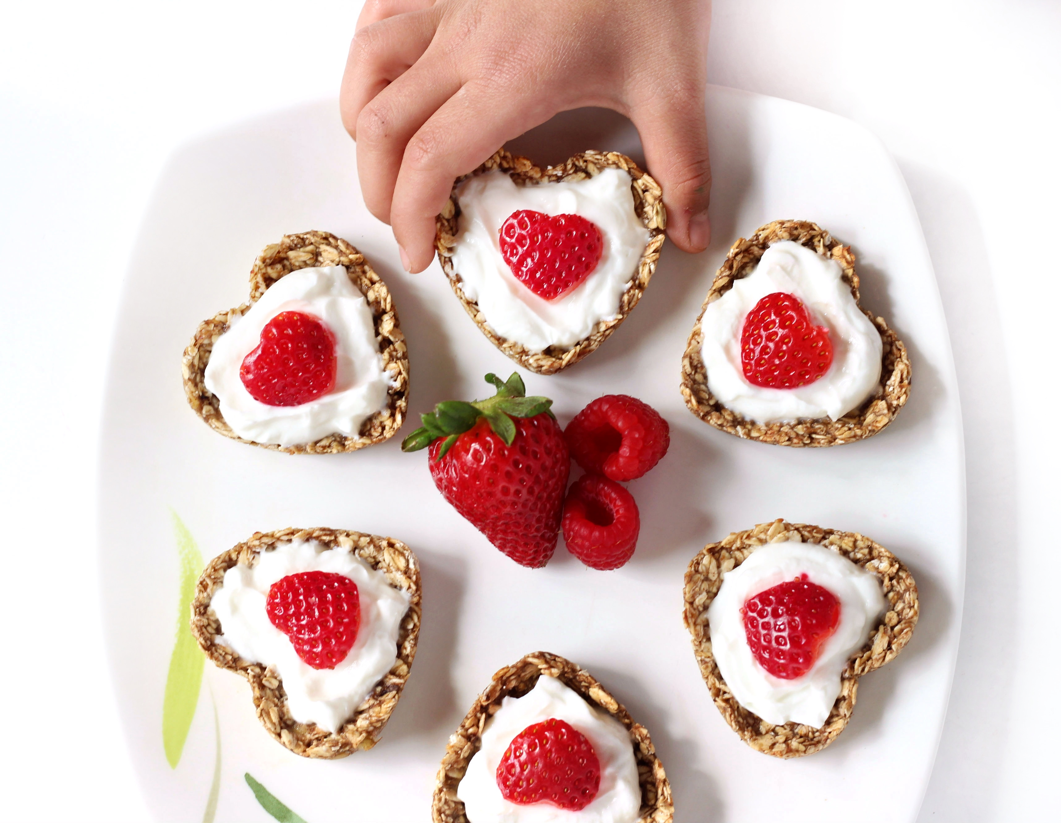Heart-Shaped Yogurt Parfait Oatmeal Cups with Raspberry Compote
