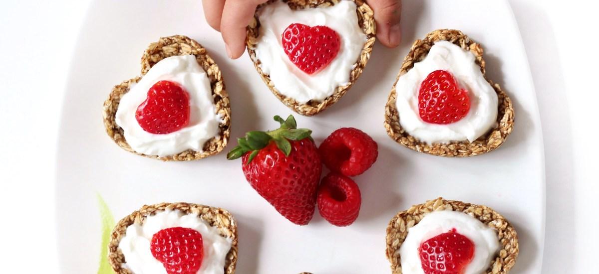 Heart-Shaped Yogurt Parfait Oatmeal Cups with Raspberry Compote