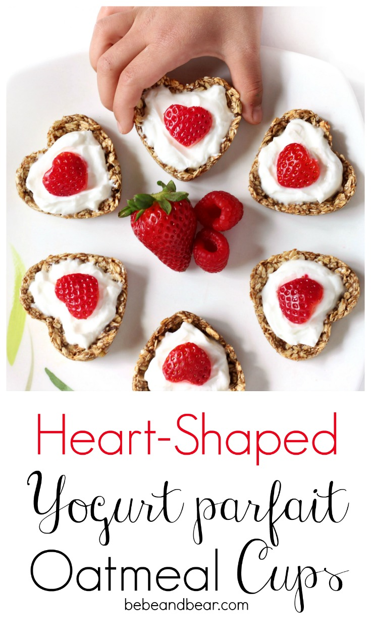 Heart Shaped Yogurt Oatmeal Parfait Oatmeal Cups