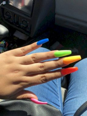 Cute Summer Nail Almond Design And Colours 19