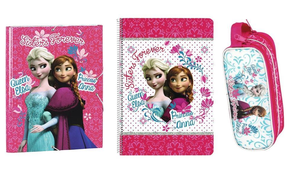 La vuelta al cole con Frozen: Carpeta, cuaderno y estuche de la película de Disney