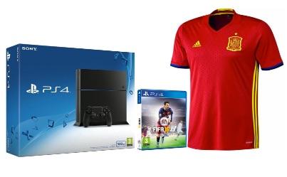 PS4 500GB + FIFA 16 + 1ª Equipación Selección Española talla M por 414,9€ (con un descuento del 7,3%)