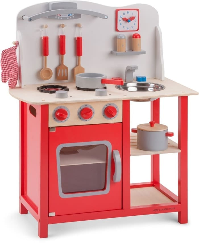 New Classic Toys 1055 - Cocina de juguete de madera con accesorios