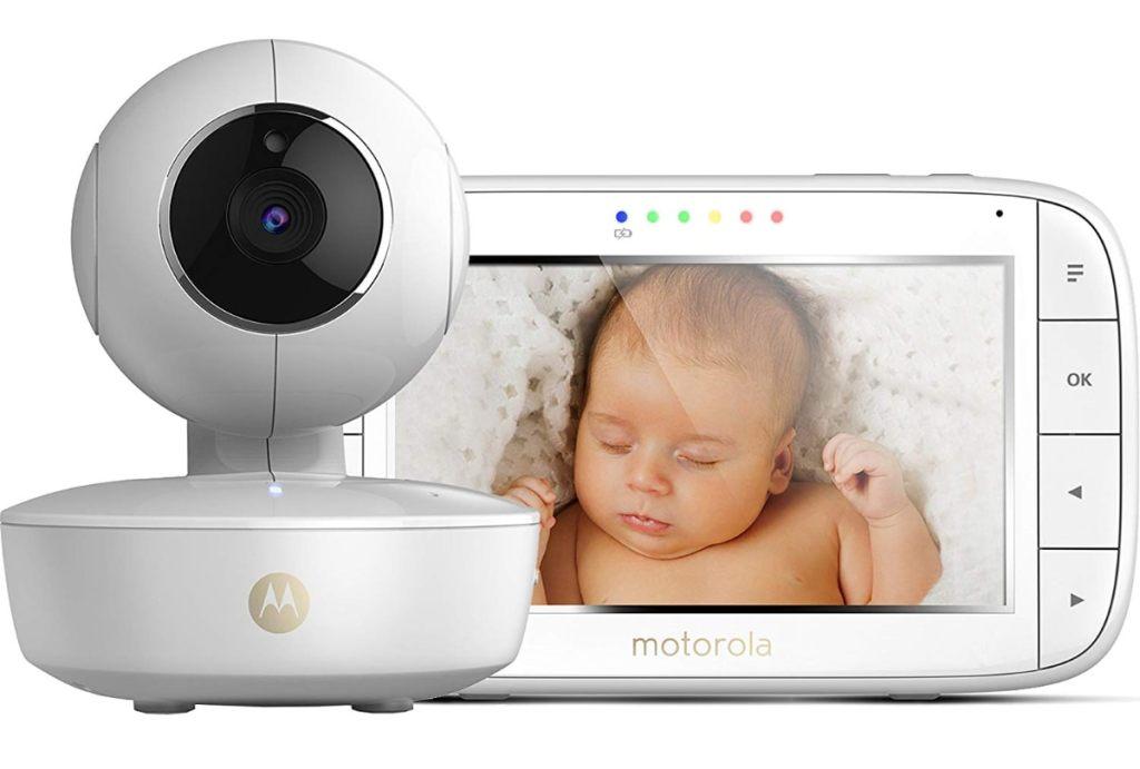 """Motorola MBP 48 - Vigilabebés vídeo con pantalla LCD a color de 5.0"""", modo eco y visión nocturna, color blanco"""