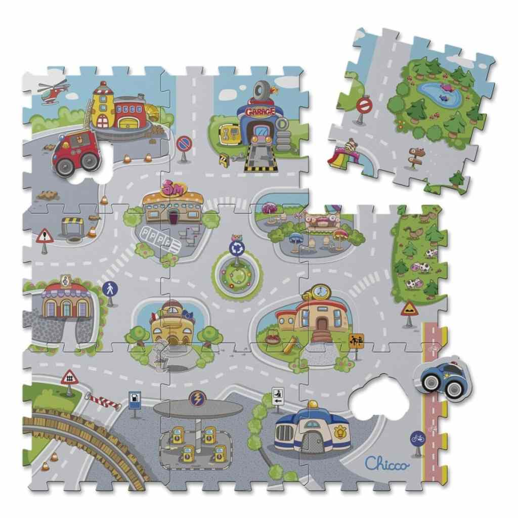 Alfombra puzzle con diseño de ciudad de Chicco
