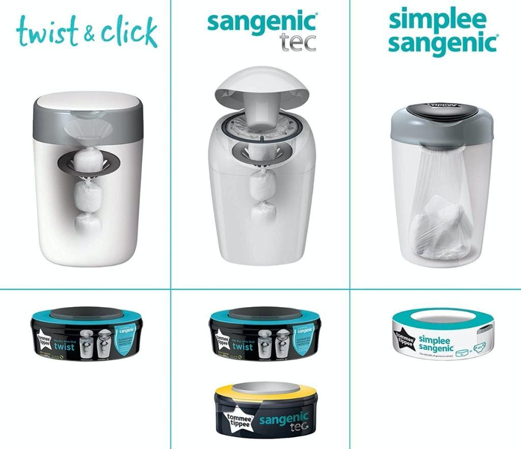 Sangenic tiene tres sistemas: Twist & Click, Sangenic TEC y Simplee Sangenic
