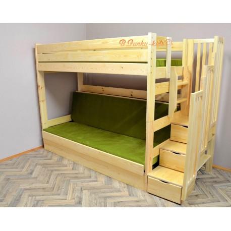 lit superpose iris avec escalier rangement et matelas 200x90 et 200