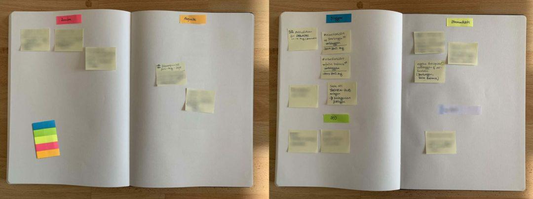 Notizbuch und Klebezettel als Start für einen sortierten Aufgabenspeicher