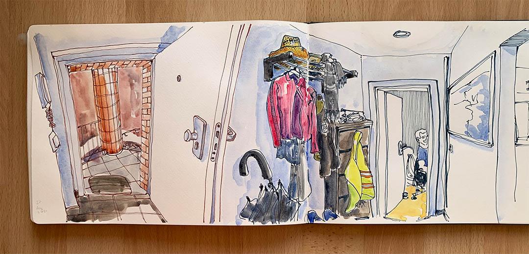 Zeichnerischer Rundgang durch die Wohnung