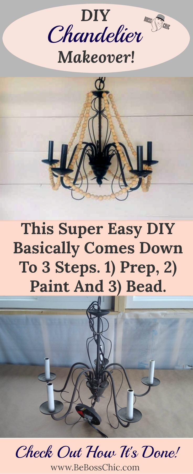Diy Chandelier Makeover Be Boss Chic