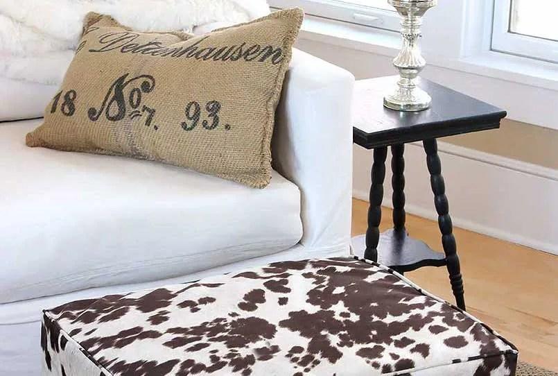 diy ottoman slipcover tutorial sewing