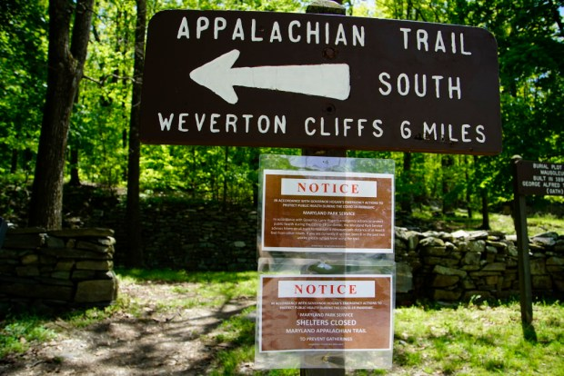 Appalachian Trail Marker - South to Weverton Cliffs