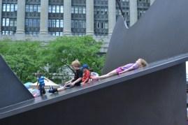Children enjoying the Picasso sculpture