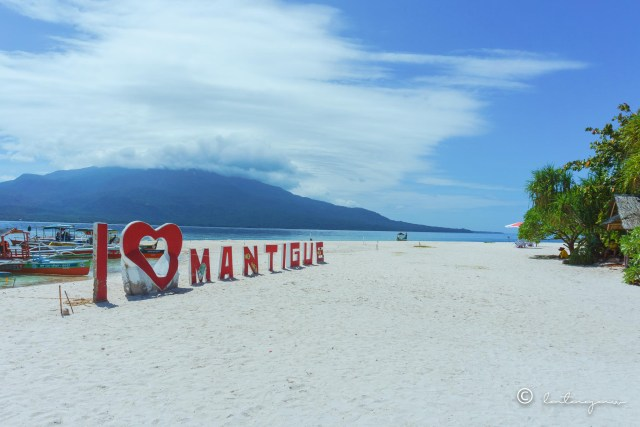 i love mantigue signage camiguin philippines