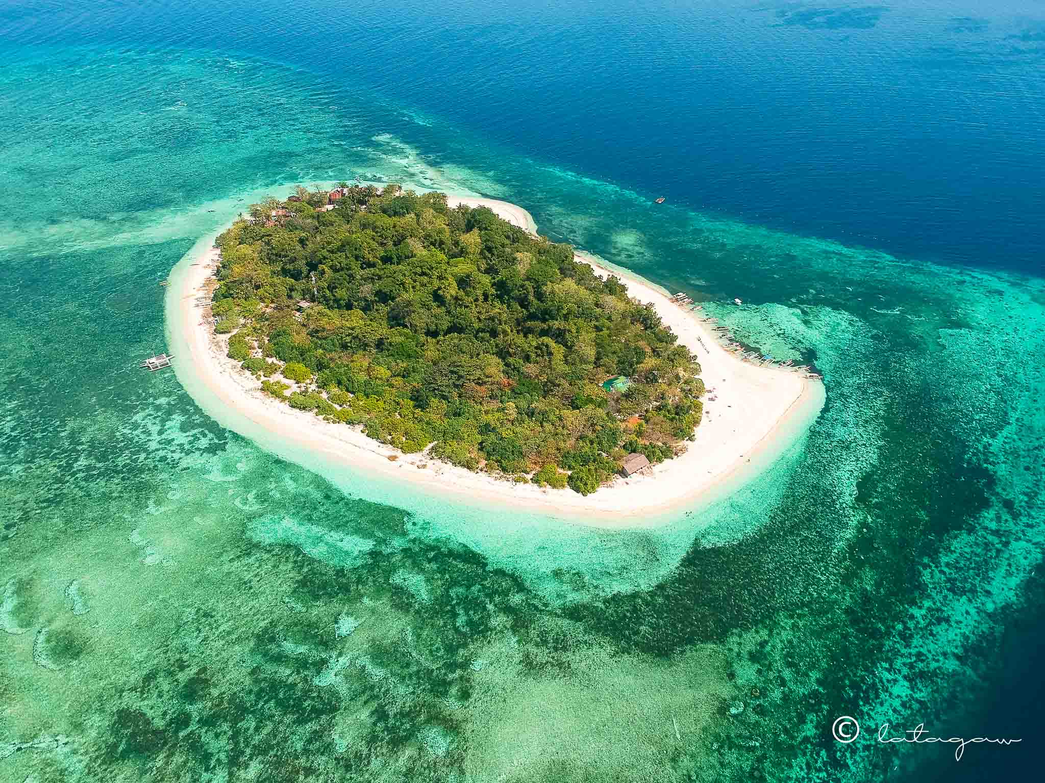 top view of mantigue island in camiguin island philippines