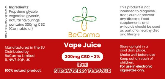 strawberry 300mg vape label