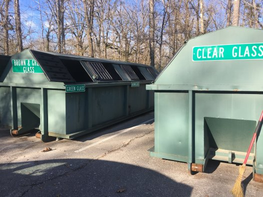 Glass recycling bins at one of the Chattanooga recycling centers. Photo by me.