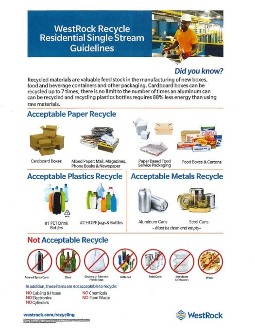 WestRock single-stream recycling information