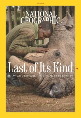 National Geographic October 2019 cover of a dying rhinoceros