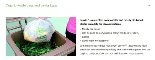 Screenshot from BASF's website about their compostable bags