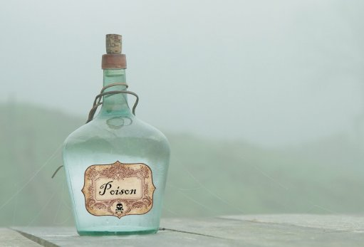 Image of a glass bottle of poison