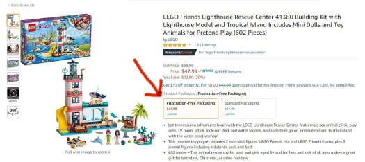 Lego Friends set from Amazon showing frustration free packaging option
