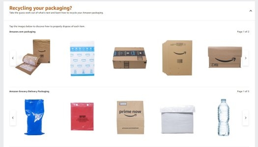 Amazon package recycling page