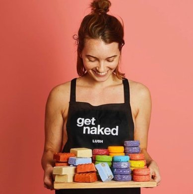 Lush naked advertisement, girl holding package free Lush products