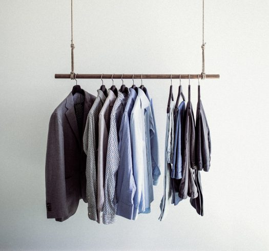 Clothing rack with business clothes