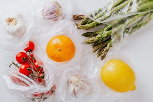 Produce in plastic bags