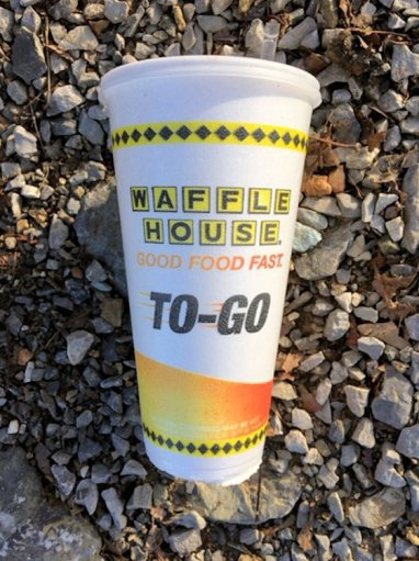 Waffle House polystyrene cup, found next to the Tennessee River.