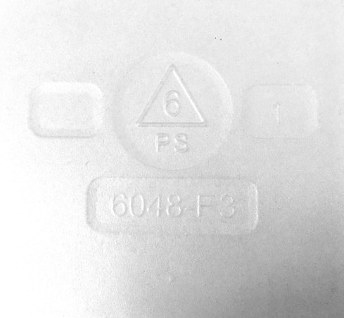 Polystyrene container showing the #6 recycling symbol.